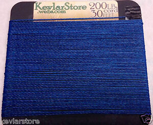 200lb-test-Kevlar-Cord-30ft-Increments-Blue-Coating-FREE-SHIPPING