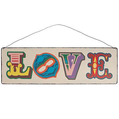 dotcomgiftshop VINTAGE LOVE HANGING METAL SIGN. WEDDING DECORATION