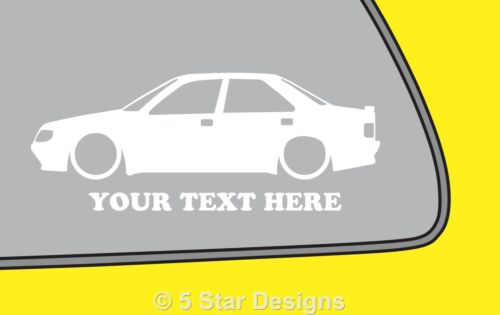 2x LOW YOUR TEXT Peugeot 405 Mi16 16v GR SRi Silhouette outline sticker 196