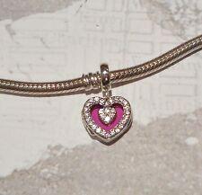 PINK HEART LOCKET .925 Sterling Silver European Charm Bead S288 HR2
