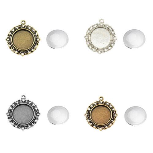 6 Sets Lead Free Flat Round Alloy Pendant Glass Cabochon Pendant Makings Sets