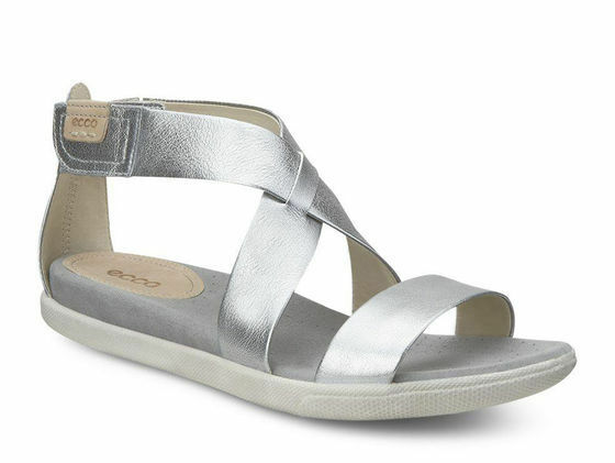 NEW ECCO  'Damara Sandal' Silver Metallic Leather Sandal Women's 7-7.5 M 38