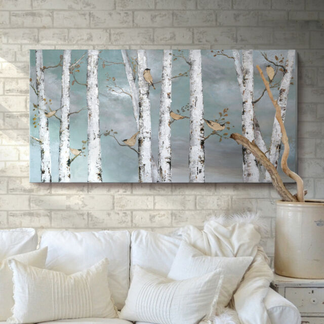 Large Tree Wall Art Hand-Painted Oil Painting Bird Birch Artwork Living Room