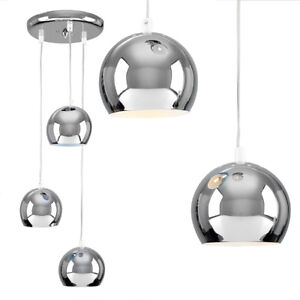 Image Is Loading Modern Silver Chrome 3 Way Multi Ceiling Pendant