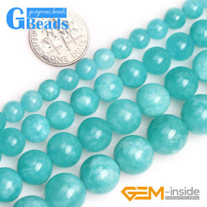 e04a94962 6-12mm Round Blue Jade Amazonite Color Gemstone Beads for Jewelry ...
