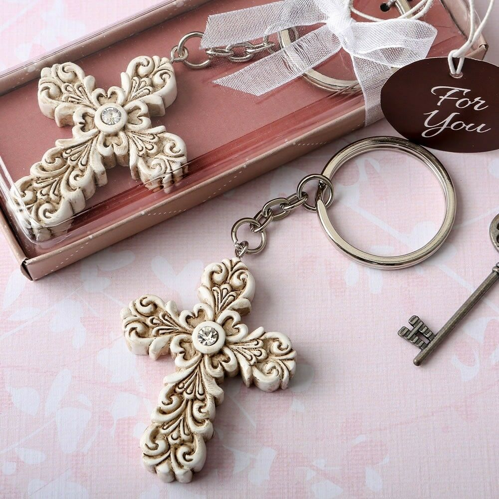 25 Baroque Cross Keychain Christening Baptism Shower Religious Party Favors