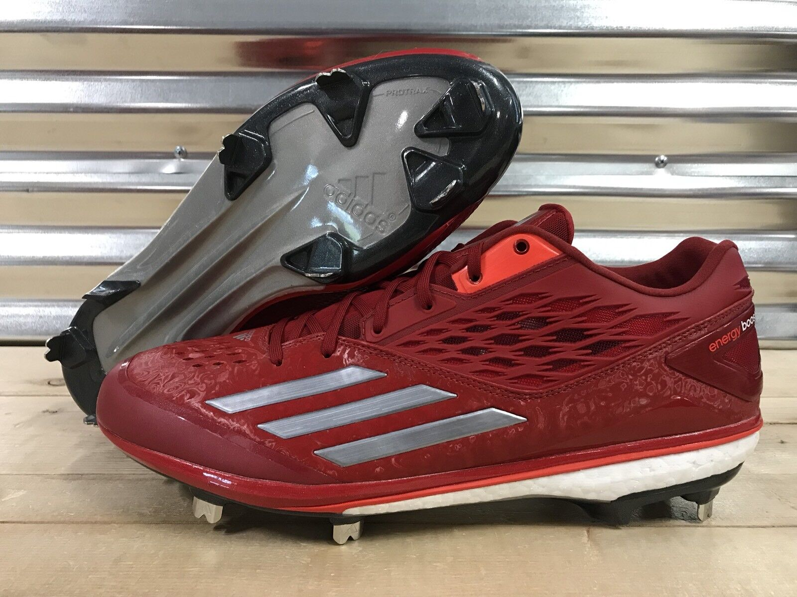 Adidas Energy Boost Icon Metal Baseball Cleats Red White Gray Price reduction