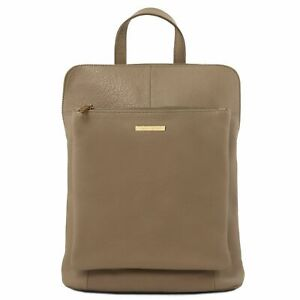 509b22cade9 Image is loading Tuscany-Leather-Soft-TL-Bag-Backpack-Purse-Taupe-