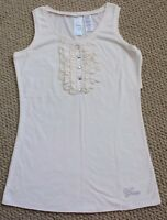 Guess Jeans Tee Shirt Tank Top 14 M Dillards Free Ivory Crystals Sleeveless