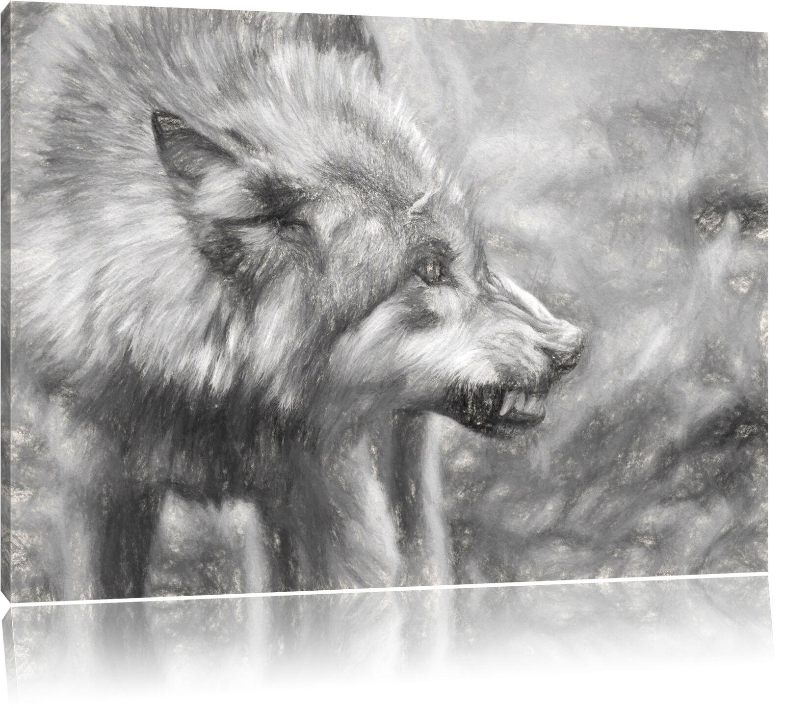 Rugidor Lobo Foto en Lienzo Decoración de de de Parojo Impresión Artística f15103