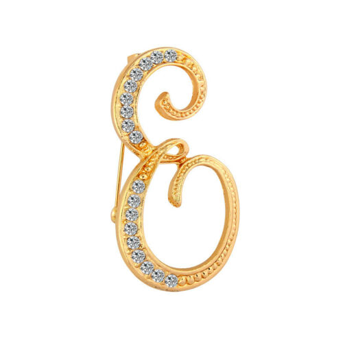 Alphabet Letter A-Z Crystal Rhinestone Initial Fashion Brooch Pin Gift Jewelry
