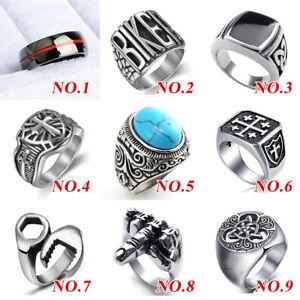 Mens-Women-039-s-Stainless-Steel-Celtic-Wedding-Band-Signet-Biker-Motorcycle-Rings