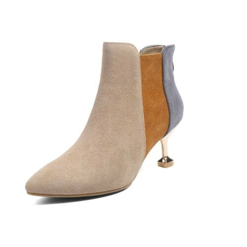 Women/'s Vogue Suede Leather Pointed Toe Multicolor Kitten Heel Ankle Boots Shoes