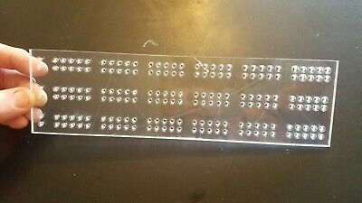 """Acrylic 3 Track Cribbage Board Template with .25/""""dia counter sunk 1//8/""""Thru holes"""