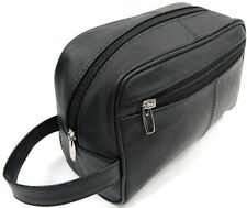 Quality Genuine Leather Men's Shaving Toiletry and Travel Bag 3 ZIPPER - Black