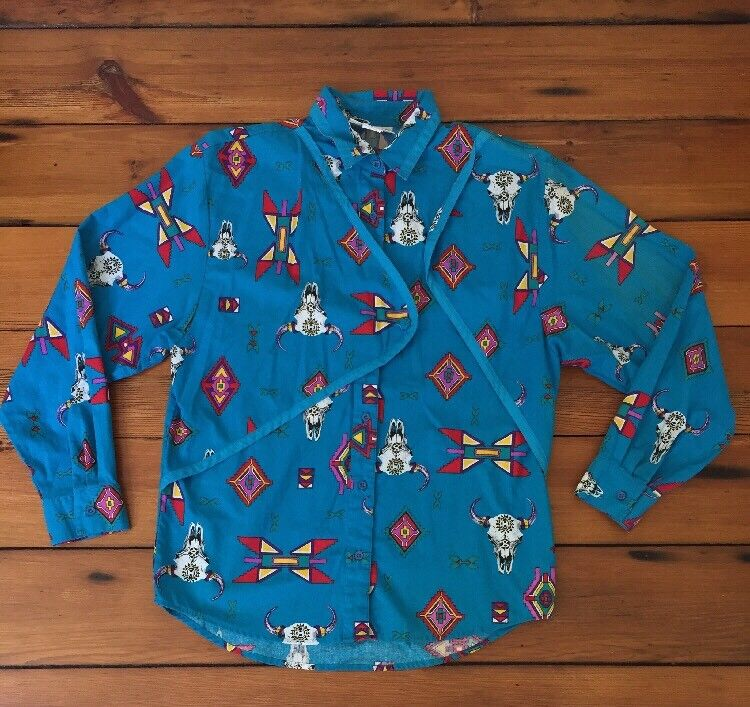 Vtg Wrangler Western Wear Electric Blau Cow Skull Aztec Button Shirt L 40  Wmns