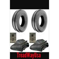 Two 3.50-6 Deestone Three Rib Front Garden Tractor Tires W/tubes 3.50x6
