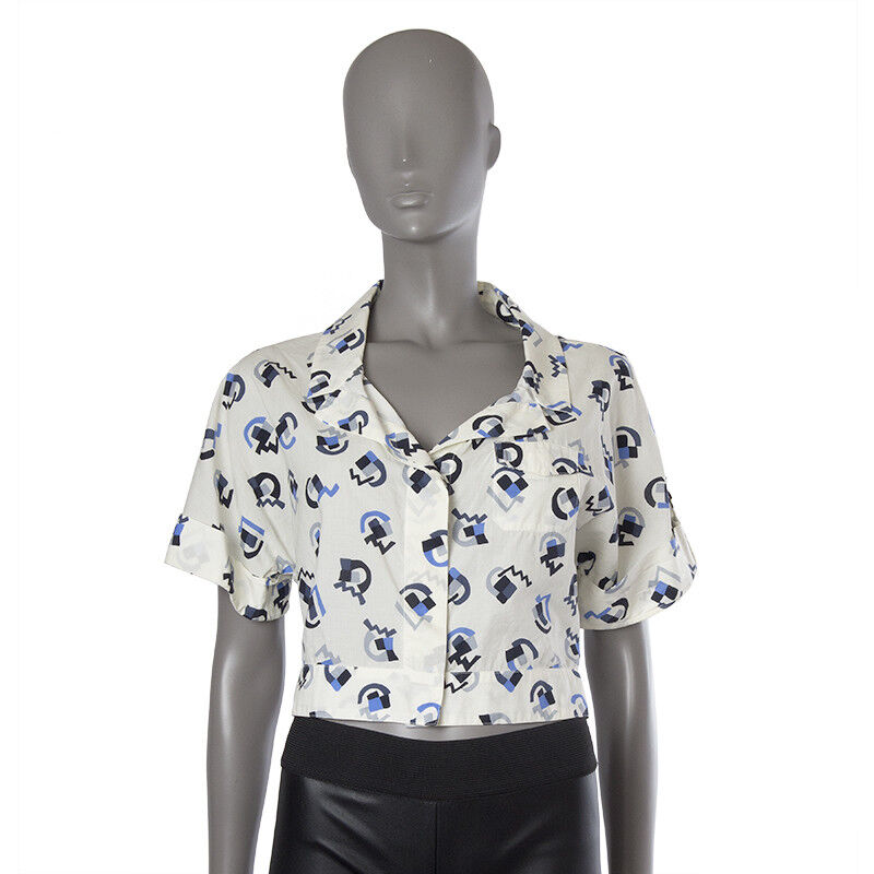 42709 auth PRADA off-Weiß Blau grau cotton CROPPED Button Down Blouse Shirt XS