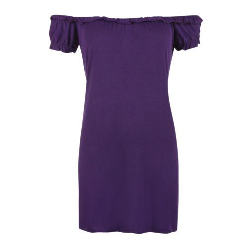 DONNA WOMEN/'S elasticizzata Off spalla Tinta Unita Manica Corta Top Taglia più 14-28