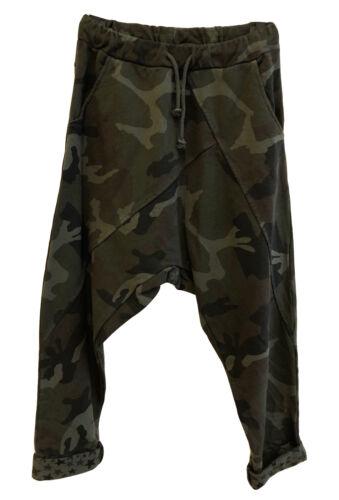 Damen Baggy Sweatpants Jogginghose Tunnelzug Camouflage Samt-Optik gelb schwarz