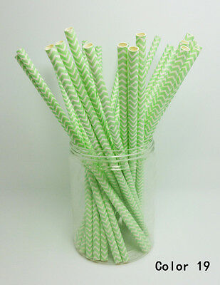 25 Paper Straws Chevron Striped Drinking Straw Party Wedding Birthday Color 19