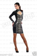 Latex (rubber) 0.45mm Buckle Tank Dress Skirt Catsuit Suit Uniform Unique