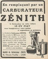 Z8758 Carburateur ZENITH - Pubblicità d'epoca - 1925 Old advertising