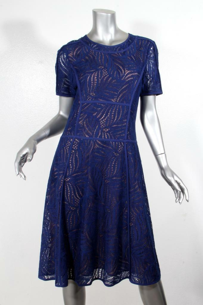 BCBG MAX AZRIA Womens bluee Lace Short Sleeve A-Line Dress 8