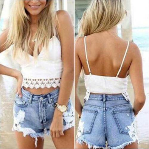 Womens High Waist Tassel Hole Shorts Jeans Denim Lace Detail Hot Short Pant UK