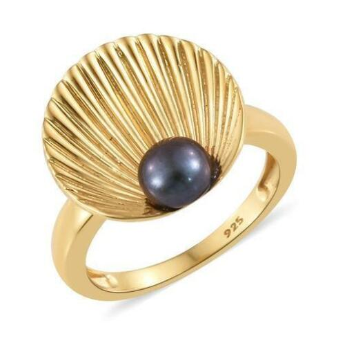 M N S T R 1ct Peacock Pearl Mermaid Shell Ring in 925 Silver -UK Sizes L Q