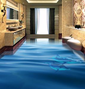 3D bluee Sea Dolphin 5 Floor WallPaper Murals Wall Print 5D AJ WALLPAPER UK Lemon