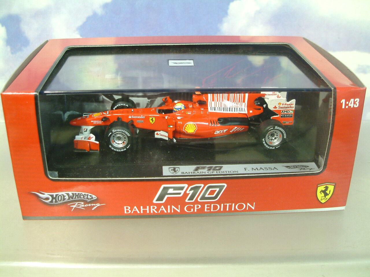 HOT WHEELS RACING 1 43 FERRARI F10 FELIPE MASSA 2ND BAHRAIN GP 2010 T6290