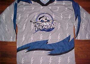 OT-Sports-CHL-ECHL-Wichita-Thunder-Gray-Blue-Vintage-Men-039-s-Hockey-Jersey-L