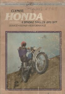 1970-1977 CLYMER HONDA MOTORCYCLE 100-350cc 4 STROKE SINGLES SERVICE MANUAL (971