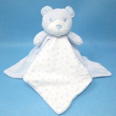 Matalan blue white teddy bear stars stripe baby comforter blankie blanket doudou