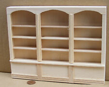 1:12 Scale Natural Finish Wooden Triple Shelf Unit Tumdee Dolls House 060