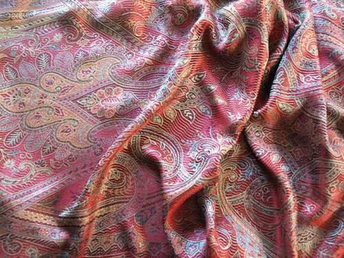 Red Silk Shawl Reversible Jamawar Iridescent Silk Paisley Shawl Pashmina Style
