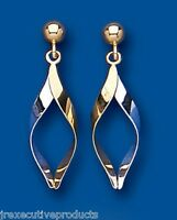 Yellow And White Gold Drop Dangle Earrings Two Colour Gold Drops