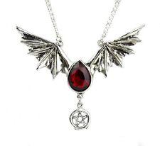 Blood Red Swarovski Stone Bat Wing Necklace Vampire Tear Drop Gothic Alterantive