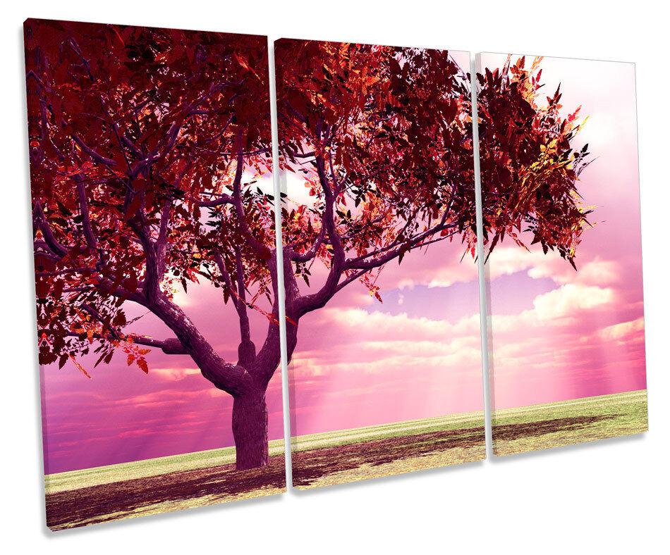 Autumn Tree Landscapes Scene TREBLE CANVAS WALL ART Box Framed Print