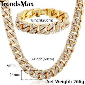 8-034-24-034-Men-Hip-Hop-Cuban-14mm-Yellow-Gold-Filled-Necklace-Bracelet-Set-Chain