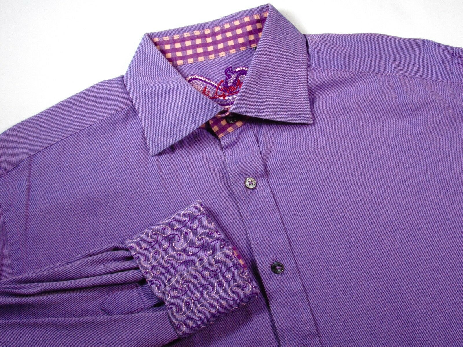 ROBERT GRAHAM - Mens XL - Nordstrom Dress Casual Shirt Vivid Purple Prince GIFT