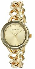 NEW RAMPAGE GOLD TONE,CRYSTAL ACCENT,MIRROR BEZEL,CHAIN BRACELET WATCH RP1032GD