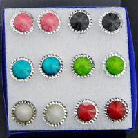 Jewelry Wholesale 6 pairs Round stud Earrings Mixed color ED335