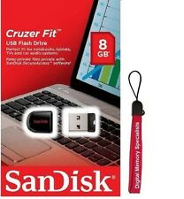 SanDisk 8GB Cruzer Fit USB 2.0 SD CZ33 8G USB FLASH DRIVE SDCZ33-008G +Lanyard