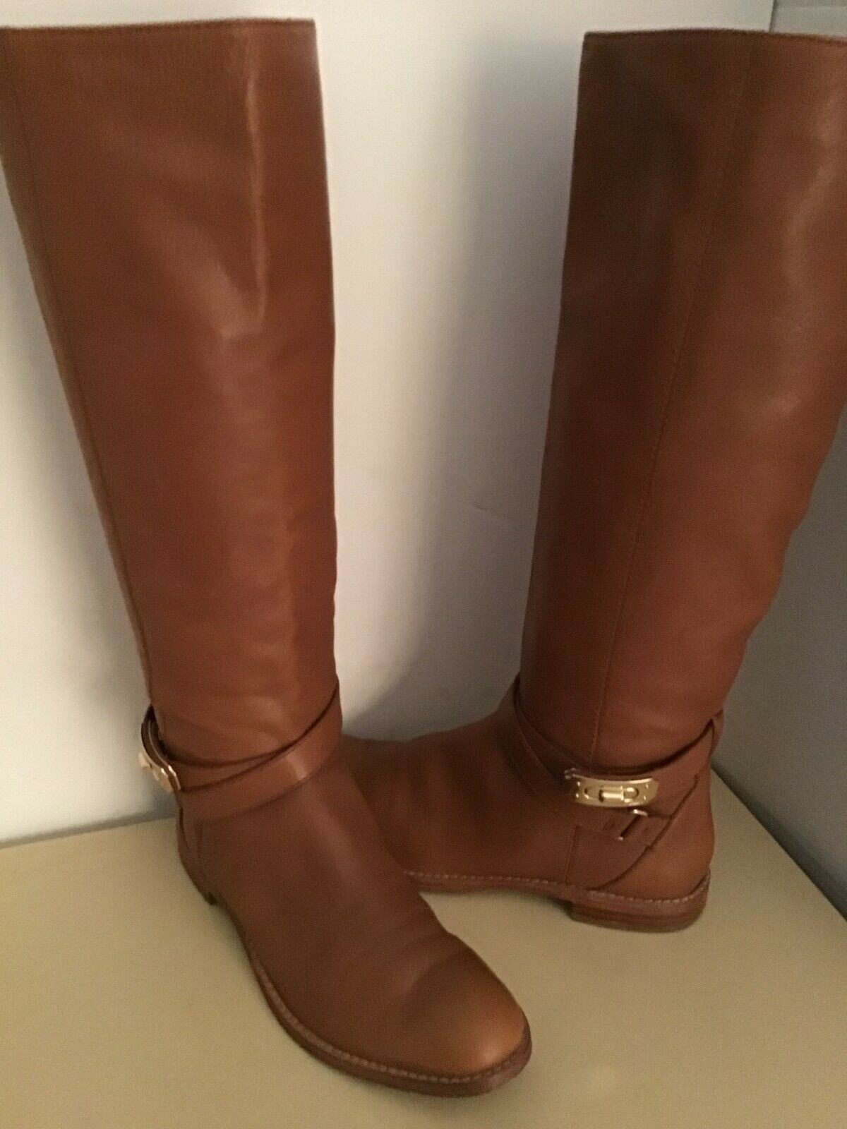 Coach women chestnut brown leather Christine tall knee high boots US size 6.5 me
