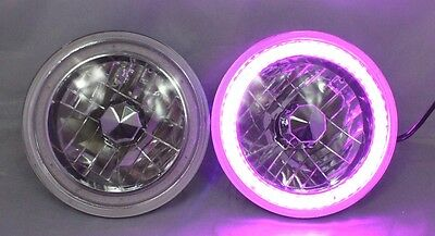 "97-16 Jeep Wrangler TJ JK 7"" PURPLE LED SMD Halo Round Chrome Clear Headlights"