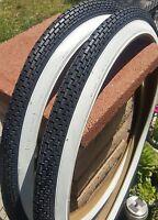 Two 24x2.125 Small Brick White Wall Beach Cruiser Bike Bicycle Duro Tires
