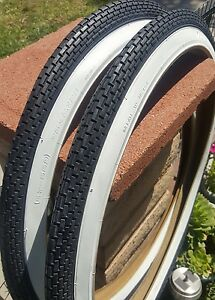 2 Blue white wall small brick 26x2.125 BEACH CRUISER BIKE bicycle tires