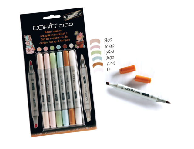 COPIC CIAO MARKER - 5+1 SET - SCRAP & STEMPELSET 1 - TWIN TIPPED